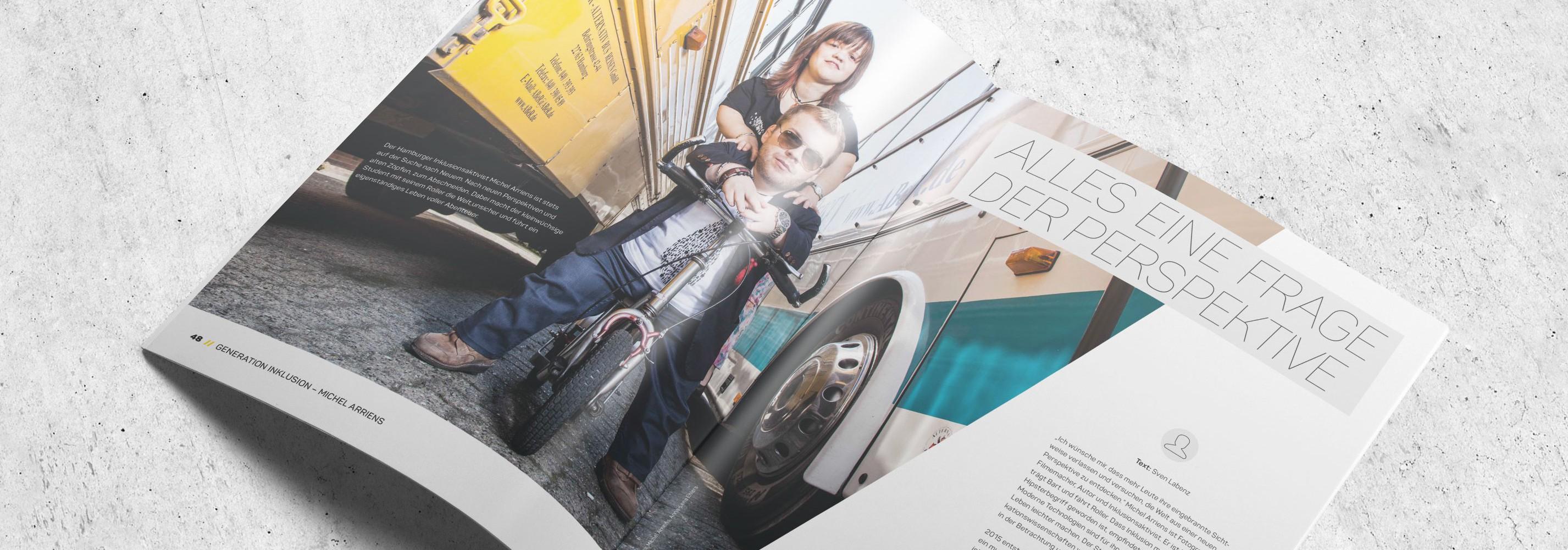 Mockup des Artikels in der neuen Ausgabe von Rollt.